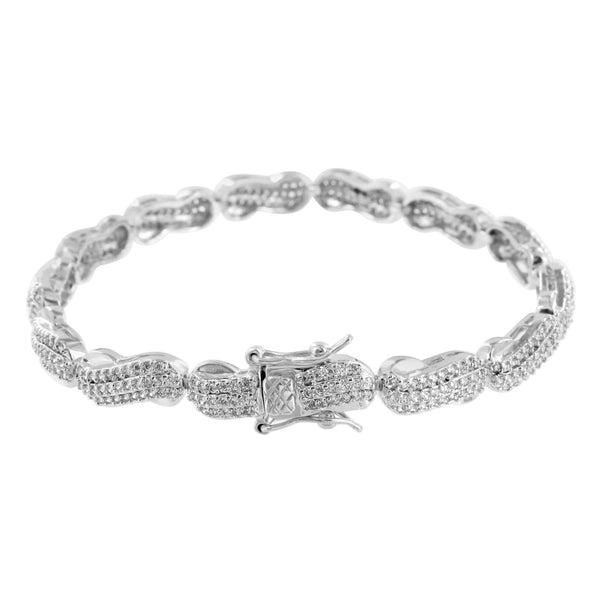 Womens Bracelet Lab Diamond 14k White Finish Micro Pave 7.5 Inch