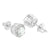 Solitaire Round Design Earrings Rhodium Finish