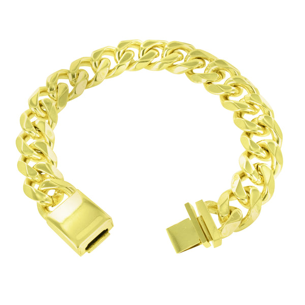 14k Gold Finish Miami Cuban Necklace Bracelet Set Stainless Steel Box Lock 14 MM