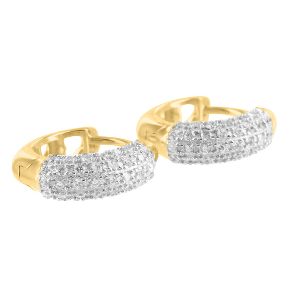 Unisex Hoop Style 925 Silver Lab Diamond Yellow Finish Earrings