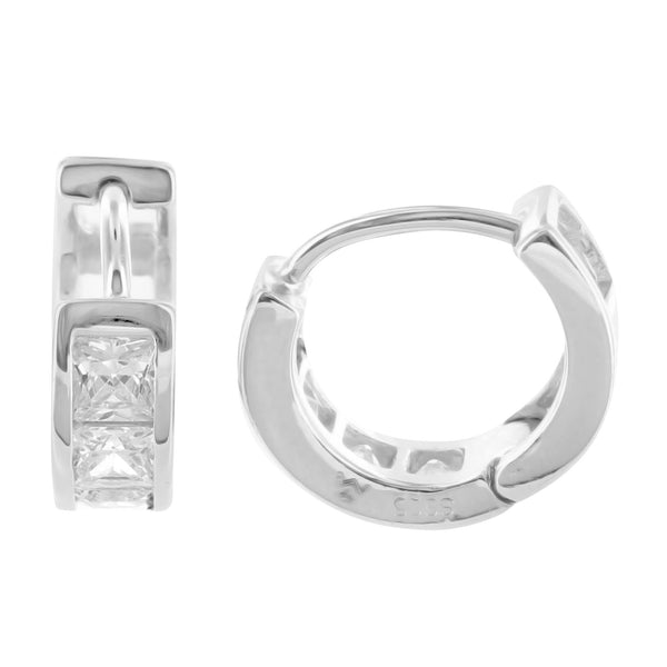 White Gold Finish Princess Lab Diamond 925 Silver Mini Huggie Hoop Earring