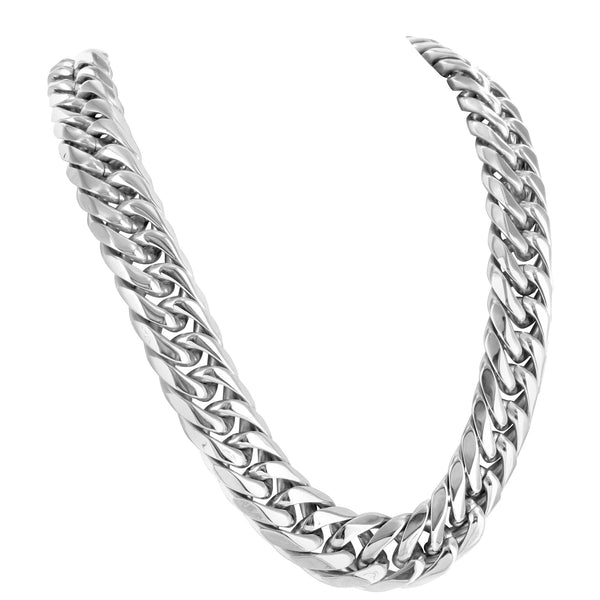 Miami Cuban Necklace Bracelet Set 16MM Stainless Steel  30 Inch