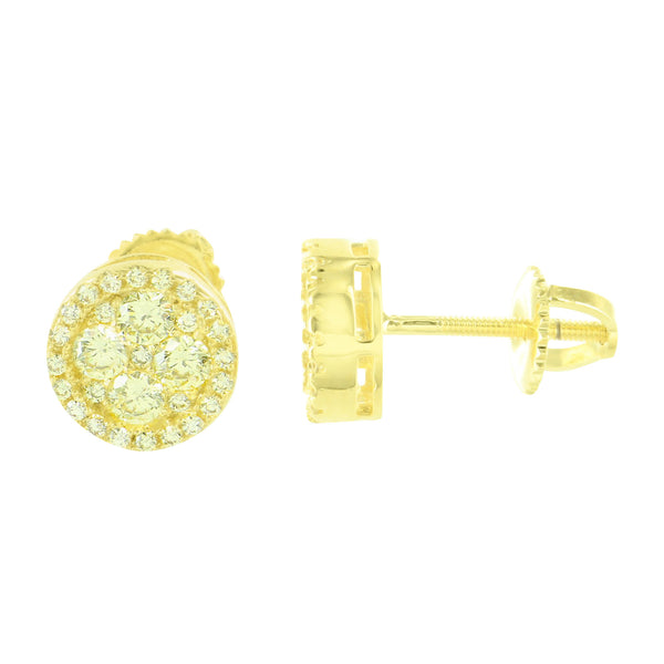 Round Cluster Set Earrings Gold Finish Screw Back