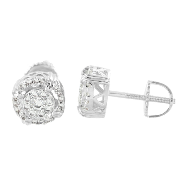 Lab Diamond Earrings Round Design 14K White Gold Finish