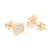 Rose Gold Finish Earrings Round Design Pave Set