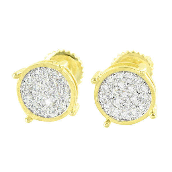 14K Gold Finish Round Lab Diamond Micro Pave Set