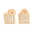 Kite Shape Mens Earrings Rose Gold Finish Lab Stone
