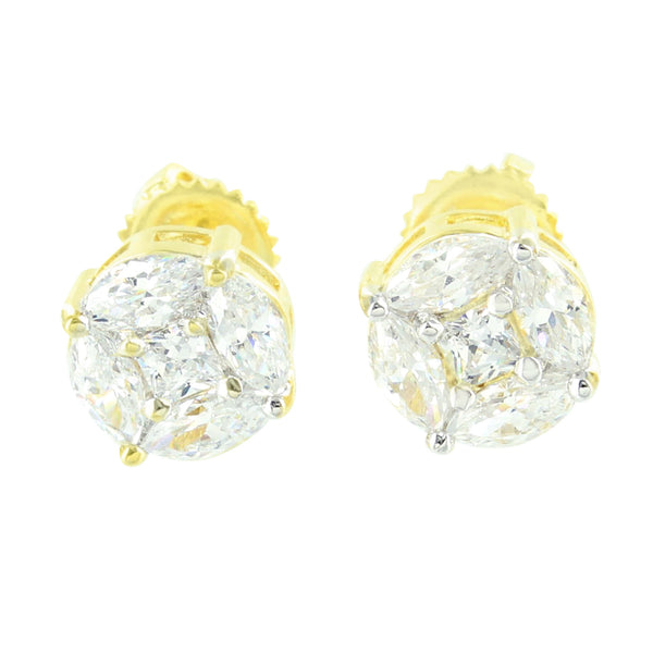 Marquise Cut Round Earrings Lab Diamond Yellow Tone