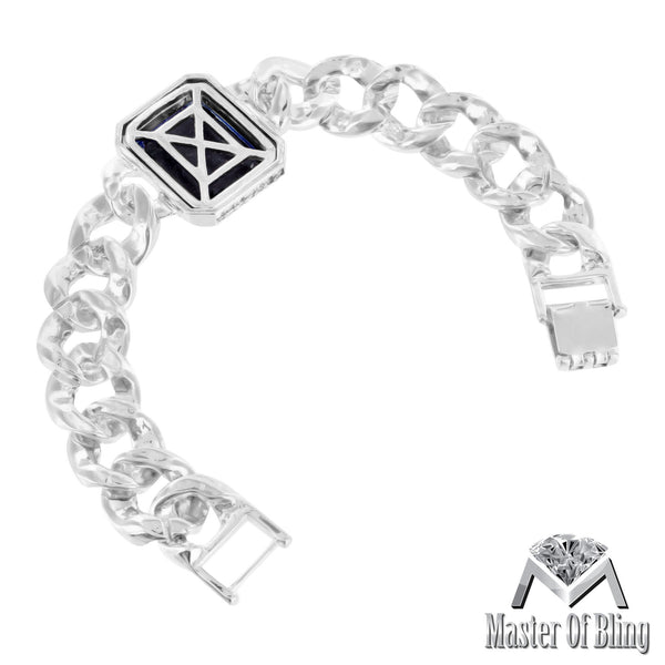 White Gold Tone Blue Sapphire Gemstone Bracelet Lab Diamonds