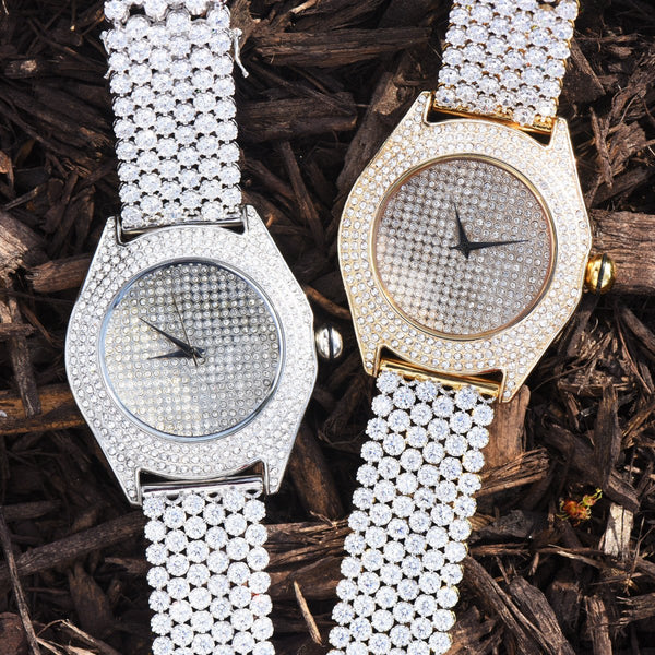 Mens Lab Diamond Flower Style Band Watch