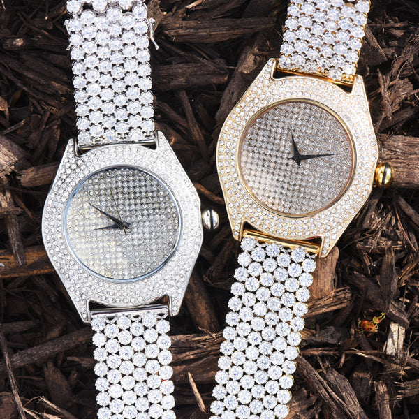 Mens Lab Diamond Flower Style Iced Band Watch