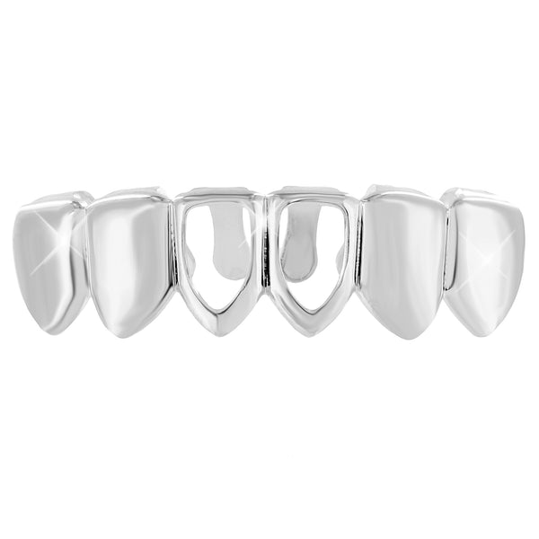 Bottom Mouth Grillz Caps White Gold Plated Mens