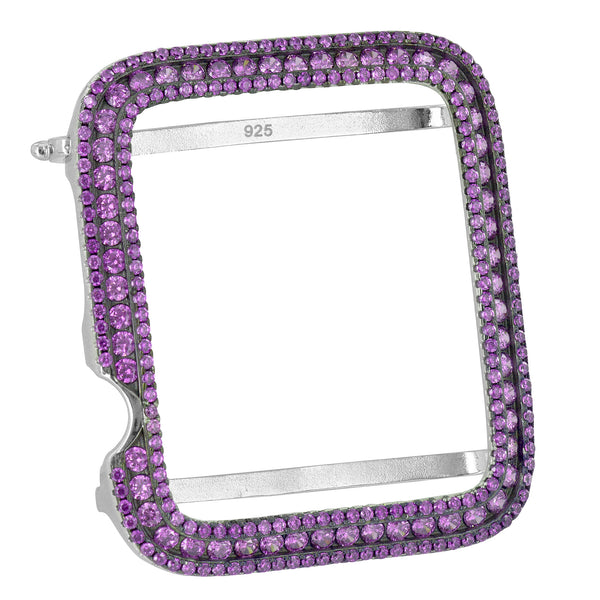 Purple Custom Bezel For Apple Watch 42mm 925 Silver