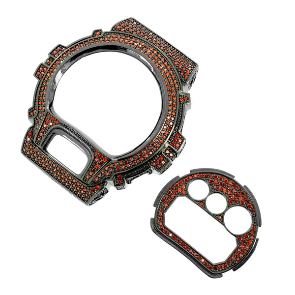 G-Shock Watch Bezel Face Plate Set Red Simulated Diamonds Custom Black