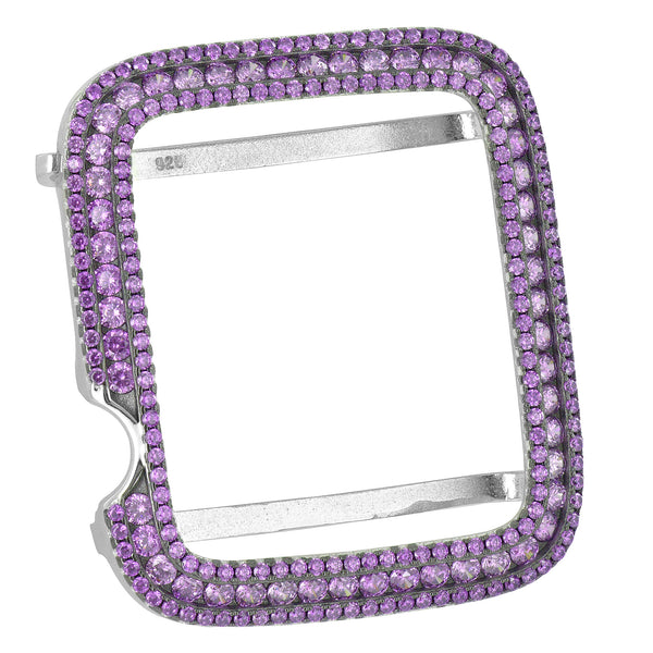 Purple Custom Bezel For Apple Watch 38mm 925 Silver