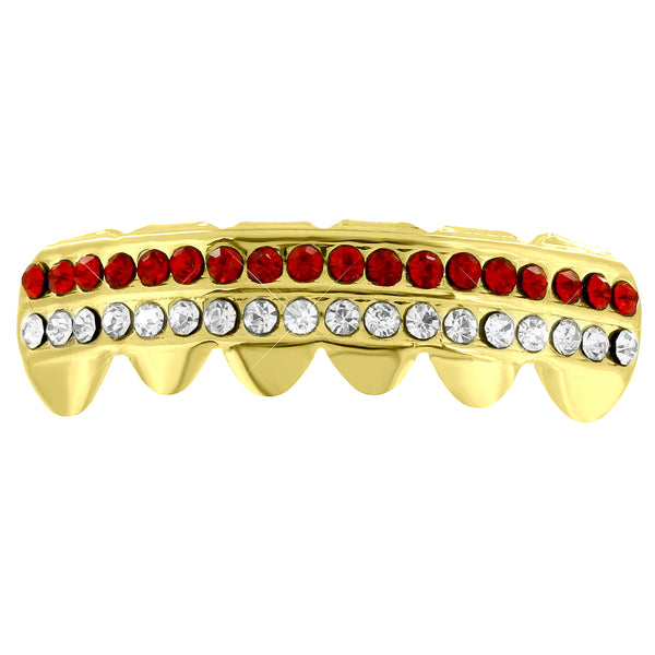 Bottom Teeth Grillz Caps Red White 2 Row Lab Diamonds