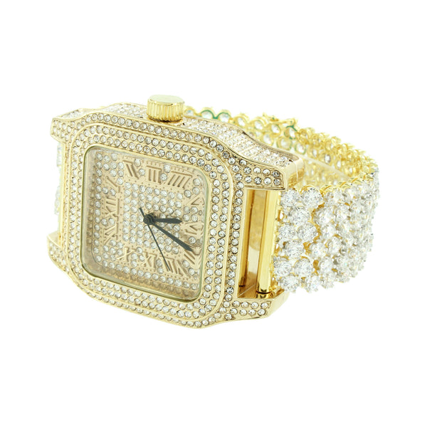 Square Face Mens Watch 14K Gold Finish Bling Watch Prong Set Bracelet