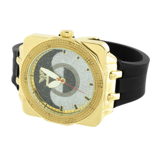 Gold Finish Diamond Watches Men Joe Rodeo Look Illusion Dial Analog Rubber Strap
