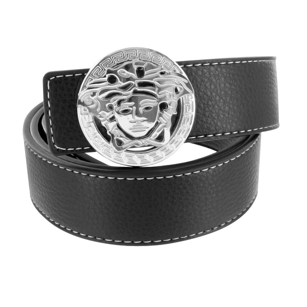 Medusa Buckle White Steel Black Leather Belt Mens