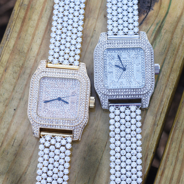 Square Dial Lab Diamond Flower Style Men Watch