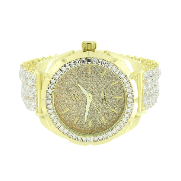 Techno Pave Watch Mens 14k Gold Finish Baguette Lab Diamond