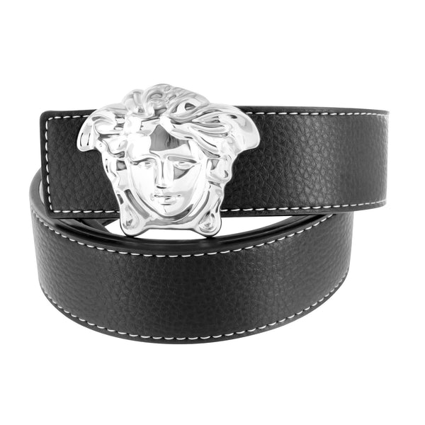 Medusa Buckles Free Leather Black Belt On Sale White