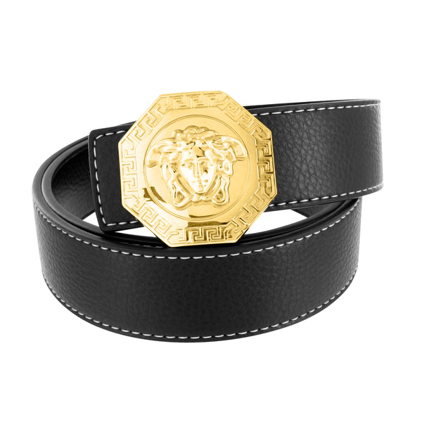 Medusa Belt Buckle Black Leather Hexagon Design Greek Design
