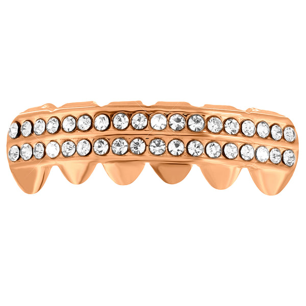 Rose Gold Tone Grillz Bottom Mouth 2 Row Lab Diamonds Round Cut Hip Hop Custom Fit