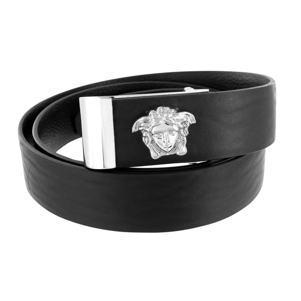 Medusa Buckle Free Leather Belt