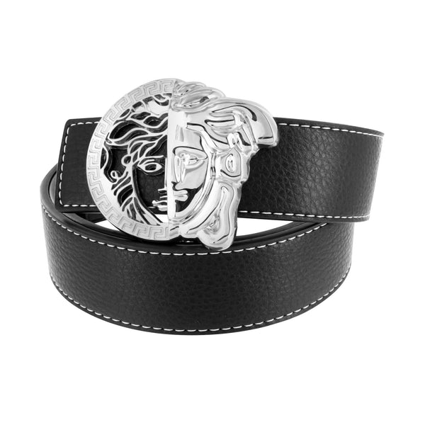 Belt Buckles Men Open Cut Medusa Design Black Leather