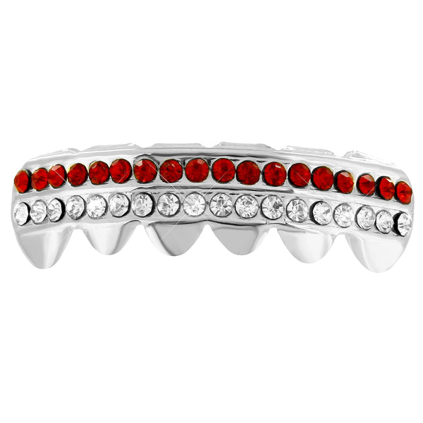 Bottom Teeth Grillz 2 Row Red White Lab Diamonds