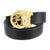 Medusa Buckle Yellow Black Leather Belt