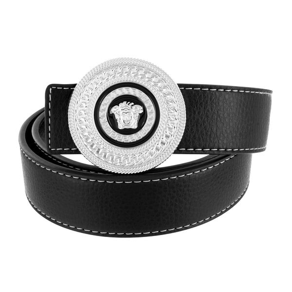 Medusa Buckle Miami Cuban Design Black Leather Belt Round