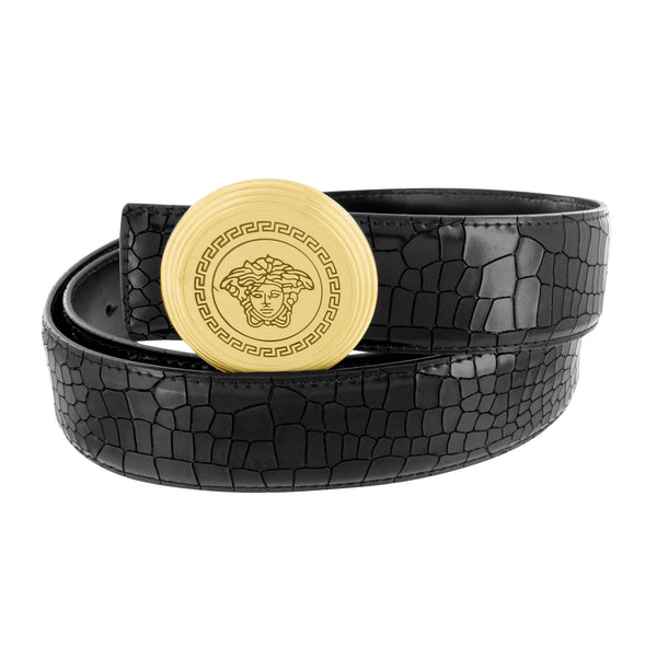 Medusa Buckle Round With Free Crocodile Design Leather Belt