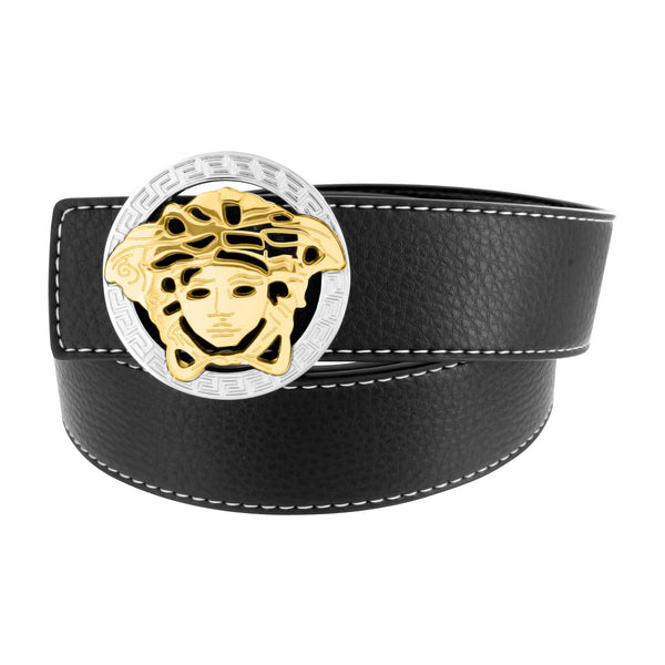 Medusa Buckle Free Leather Belt Black 2 Tone Design Classy