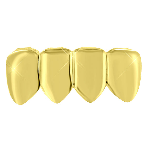 Yellow Gold Tone Teeth Grillz Top Mouth Grill Hip Hop Mens