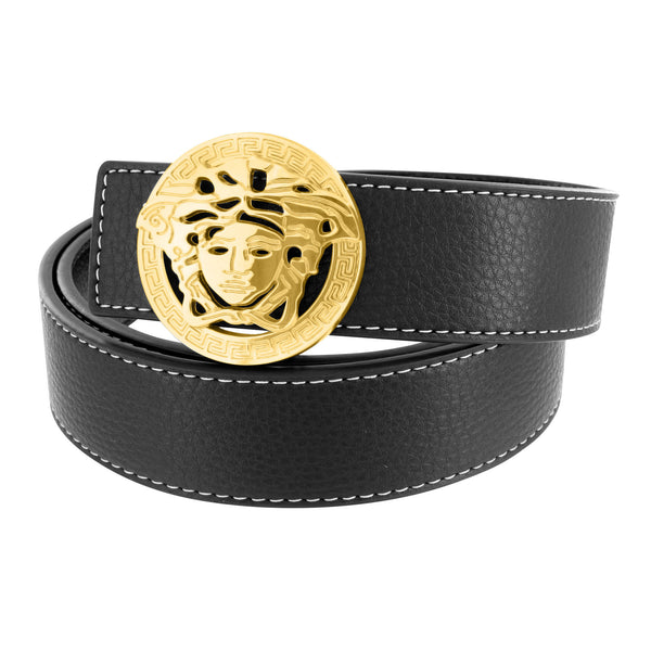 Medusa Round Buckle Leather Black Belt