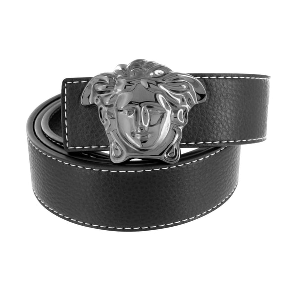 Black Medusa Buckle For Mens With Free Black Leather Belt