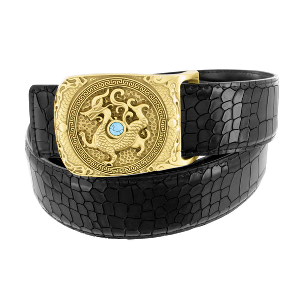Dragon Buckle With Turquoise Stone Crocodile Style Black Leather Belt