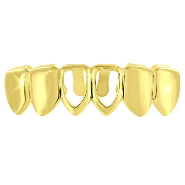 Hip Hop Teeth Grillz Top Mouth Caps 14K Gold Plated Rapper Wear