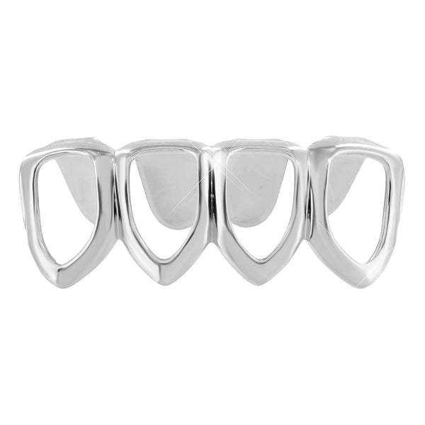 Mens Top Mouth Grillz White Gold Finish 4 Teeth Caps Hip Hop