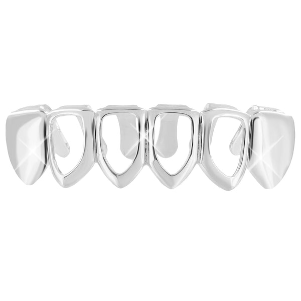 Mens Hip Hop Custom Fit Top Caps Grillz Teeth Mouth Grills White Gold Finish