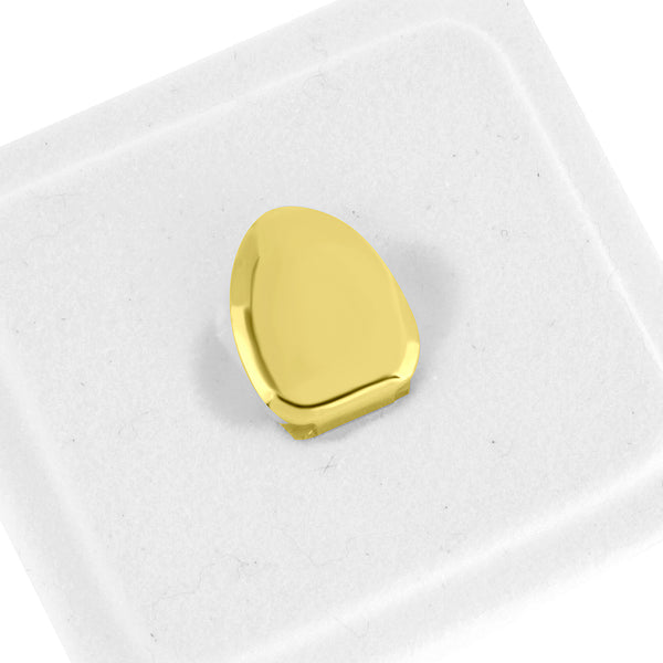 Single Tooth Cap Grillz Plian Design Solid Front Yellow Gold Finish