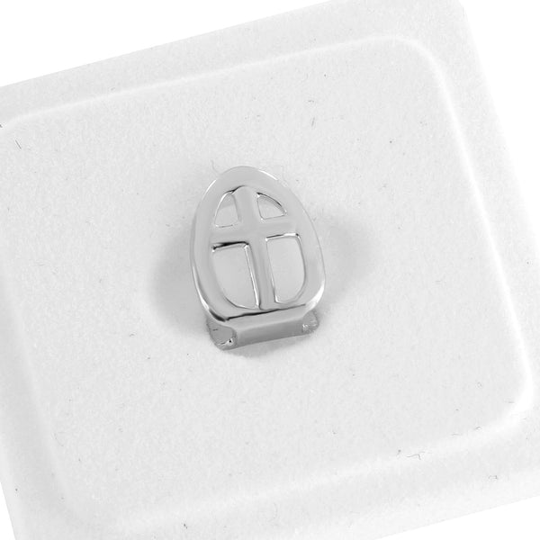 Single Tooth Cross Design Grillz 14K White Gold Finish