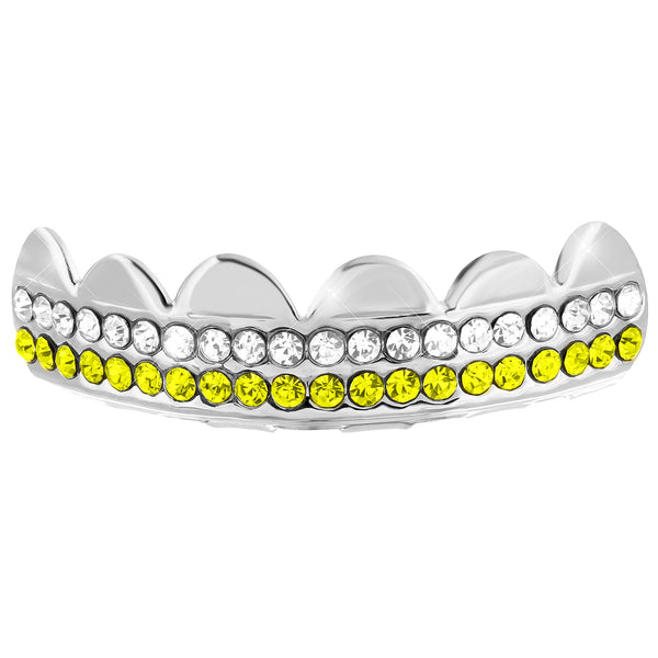 Top Teeth Grillz Cap 2 Row Blue White Lab Diamonds 14K Gold Finish