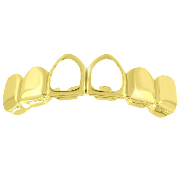 Top Teeth Mouth Grillz 14k Yellow Gold Finish Mens
