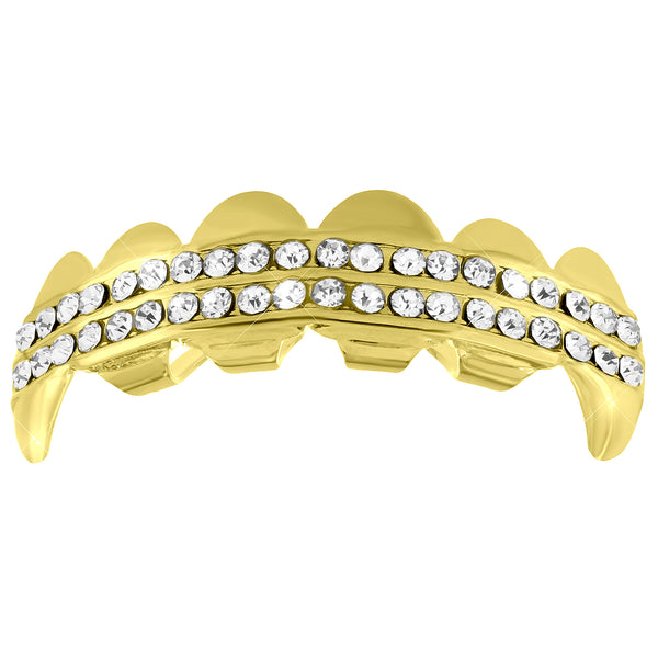Top Fang Grillz 14k Yellow Gold Finish 2 Row Lab Diamond