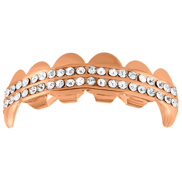 Rose Gold Finish 2 Row Lab Diamond Top Fang Grillz