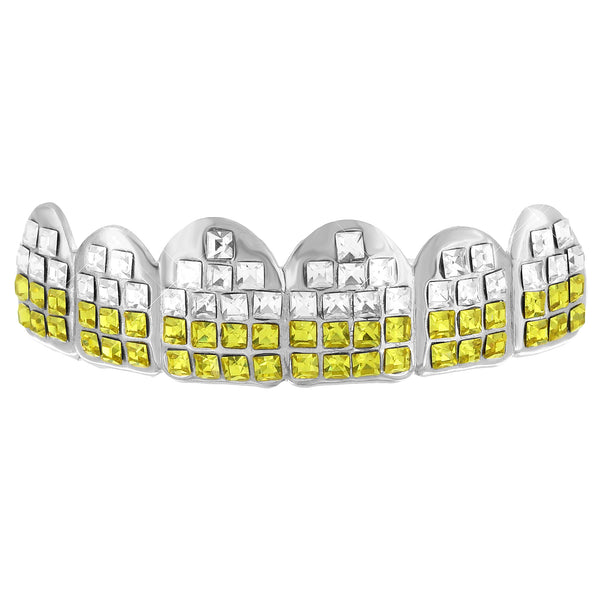 Iced Out Yellow Lab Diamond Top Grillz for Mens