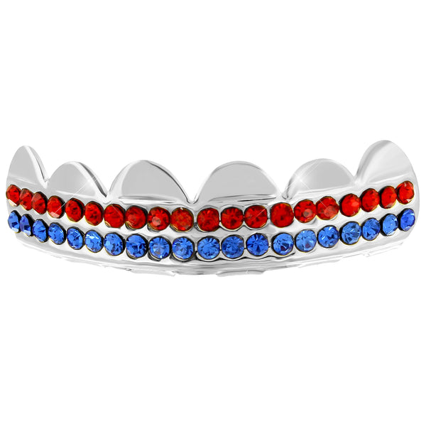 Red Blue Lab diamond Iced Top Grillz 14k White Gold Finish